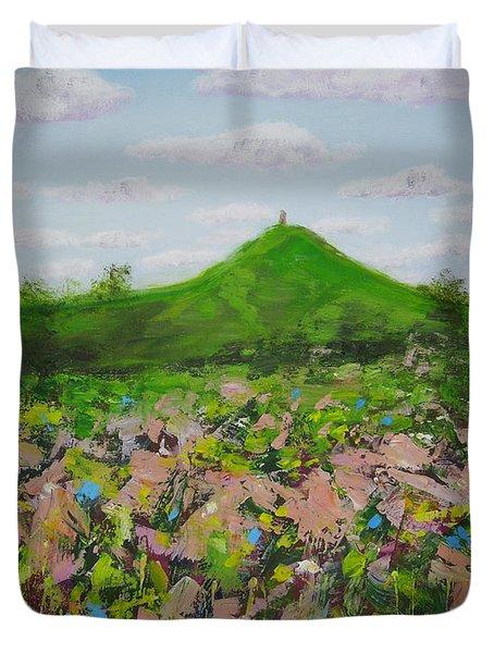 Fields To Glastonbury Tor Duvet Cover