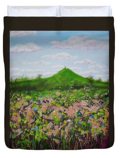 Fields To Glastonbury Tor Duvet Cover