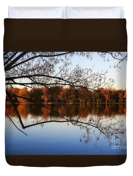 Fiery Colors On The Lake Duvet Cover