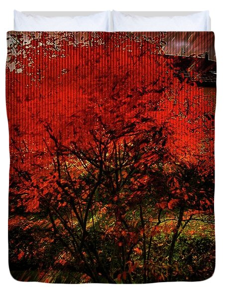 Duvet Cover featuring the photograph Fiery Dance by Mimulux patricia no No
