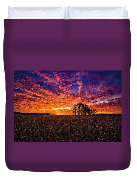 Fiery Dawn At Center Grove Duvet Cover