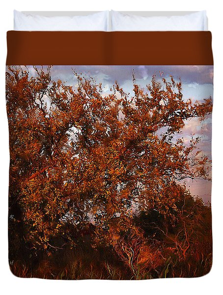 Duvet Cover featuring the digital art Fiery Elm Tree  by Shelli Fitzpatrick
