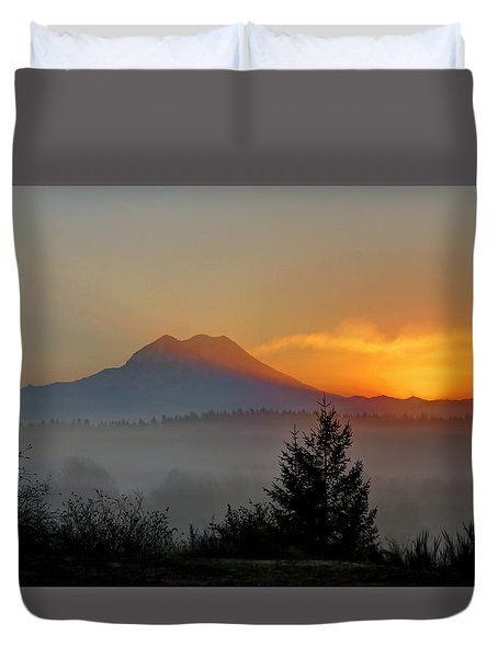 Fiery Fall Sunrise Duvet Cover