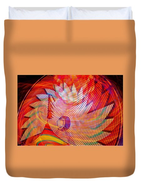 Duvet Cover featuring the photograph Fiery Ferris Wheel by David Lee Thompson