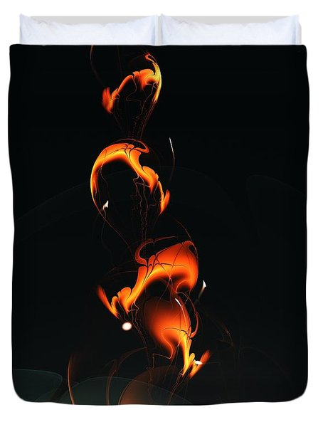Duvet Cover featuring the digital art Fiery Flower by Anastasiya Malakhova