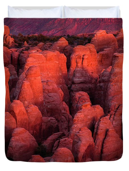 Duvet Cover featuring the photograph Fiery Furnace by Dustin LeFevre