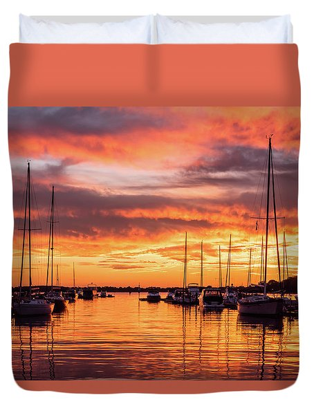 Fiery Lake Norman Sunset Duvet Cover by Serge Skiba