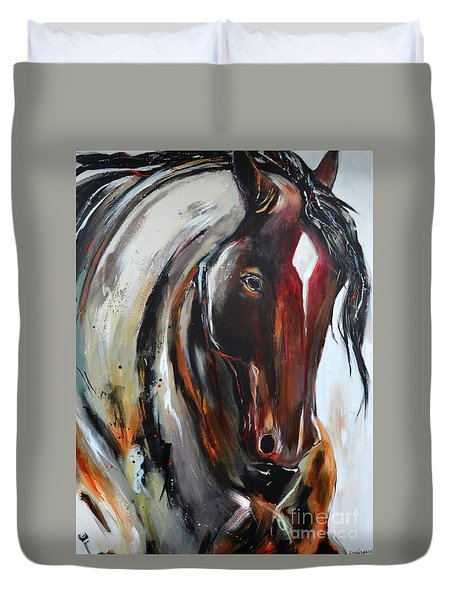 Duvet Cover featuring the painting Fiery Red Head by Cher Devereaux