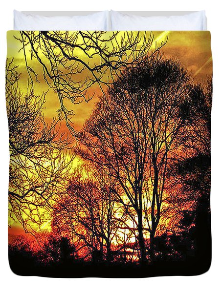 Fiery Red Sunset Duvet Cover by Carol F Austin