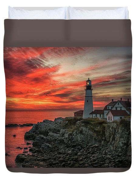 Fiery Sunrise At Portland Head Light Duvet Cover