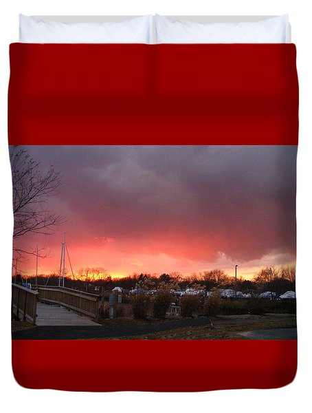 Fiery Sunset At The Marina Duvet Cover