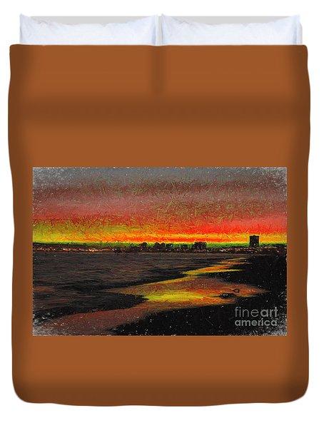 Duvet Cover featuring the digital art Fiery Sunset by Mariola Bitner