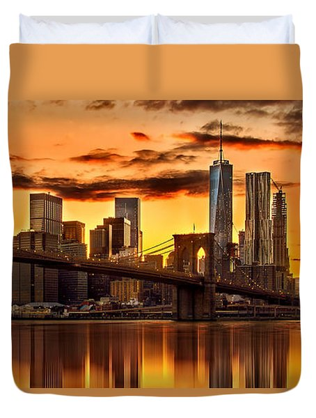 Fiery Sunset Over Manhattan  Duvet Cover