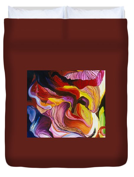 Duvet Cover featuring the painting Fiesta De Les Flores by Donna Hall