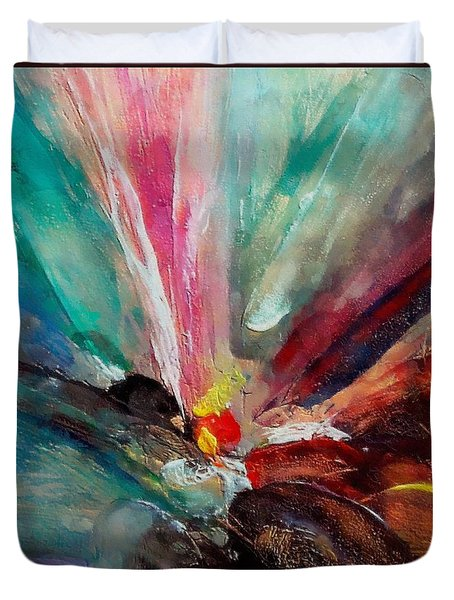 Duvet Cover featuring the painting Fiesta  by Dragica  Micki Fortuna