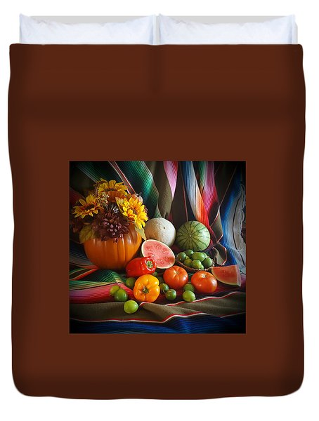 Duvet Cover featuring the painting Fiesta Fall Harvest by Marilyn Smith