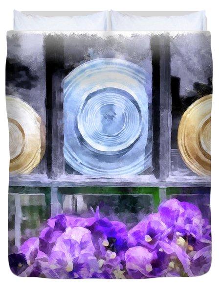 Fiestaware Window Display With Pansies Duvet Cover