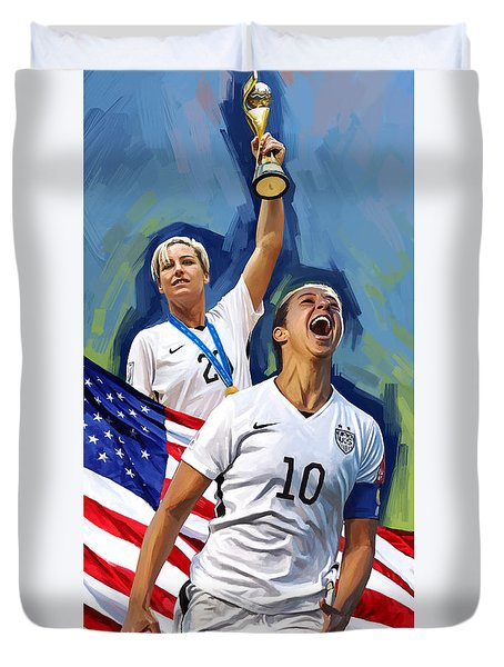 Duvet Cover featuring the painting Fifa World Cup U.s Women Soccer Carli Lloyd Abby Wambach Artwork by Sheraz A