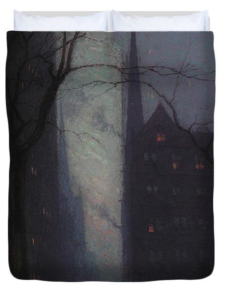 Fifth Avenue At Twilight Duvet Cover by Lowell Birge Harrison