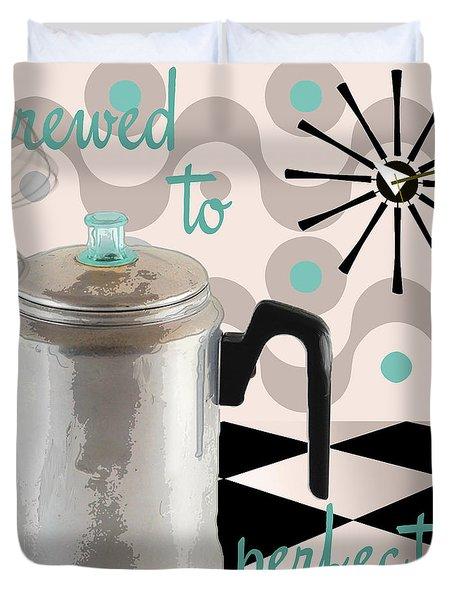 Fifties Kitchen Coffee Pot Perk Coffee Duvet Cover