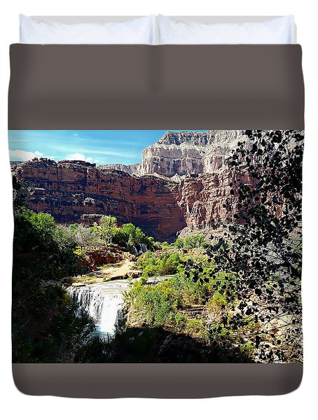 Fifty Falls And Havasupai Falls Havasupai Indian Reservation Duvet Cover by Joseph Hendrix