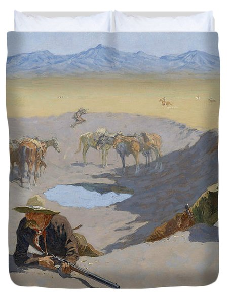 Fight For The Waterhole Duvet Cover