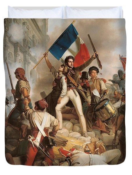 Fighting At The Hotel De Ville Duvet Cover by Jean Victor Schnetz