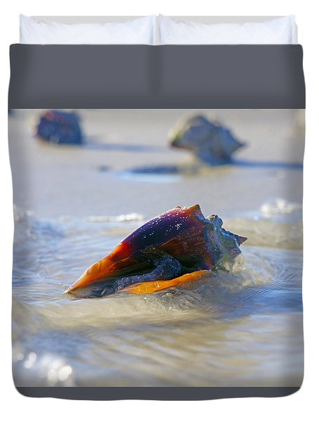 Fighting Conch On Beach Duvet Cover