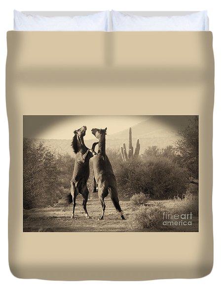 Fighting Stallions Duvet Cover