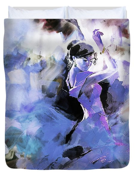 Duvet Cover featuring the painting Figurative Dance Art 509w by Gull G