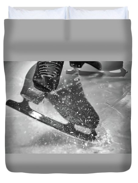 Duvet Cover featuring the photograph Figure Skating Abstract by Rona Black