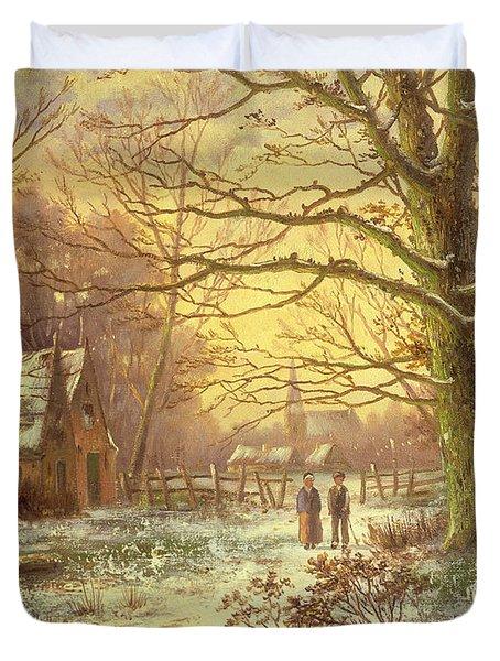 Figures On A Path Before A Village In Winter Duvet Cover by Johannes Hermann Barend Koekkoek