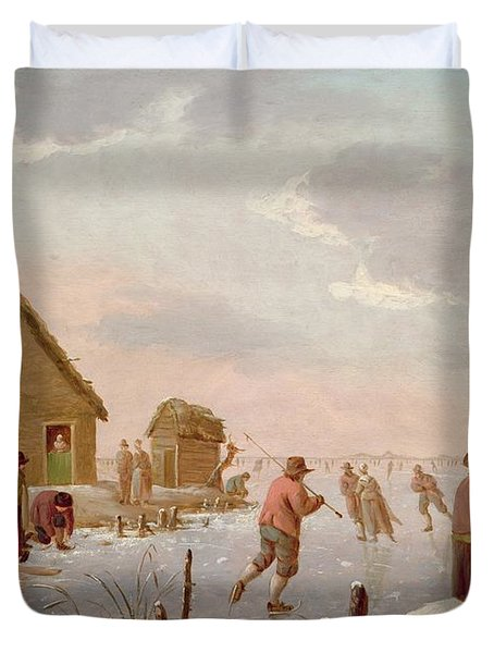 Figures Skating In A Winter Landscape Duvet Cover by Hendrik Willem Schweickardt