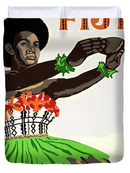 Fiji Restored Vintage Travel Poster Duvet Cover