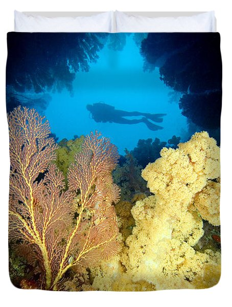 Fiji Underwater Duvet Cover by Dave Fleetham - Printscapes