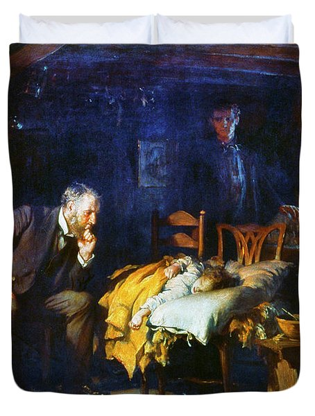 Duvet Cover featuring the painting Fildes The Doctor 1891 by Granger