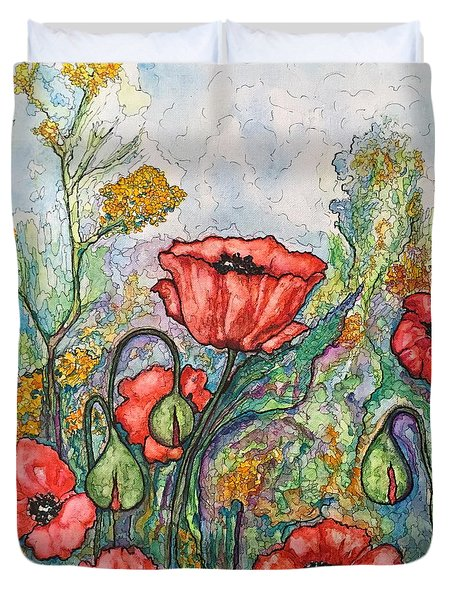 Duvet Cover featuring the painting Filed Of Flowers #1 by Rae Chichilnitsky