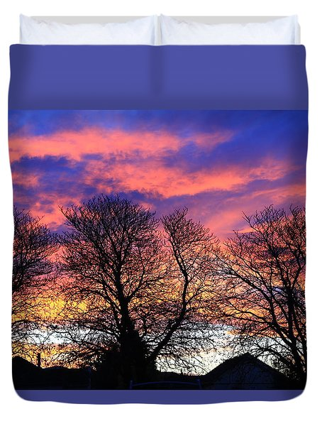 Duvet Cover featuring the painting Filigree Sunset by Nareeta Martin