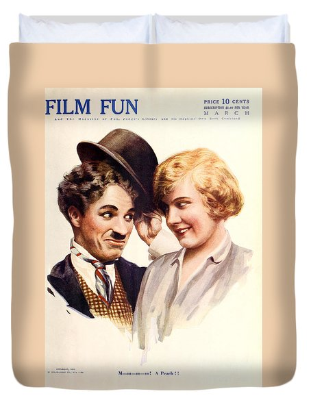 Film Fun Classic Comedy Magazine Featuring Charlie Chaplin And Girl 1916 Duvet Cover