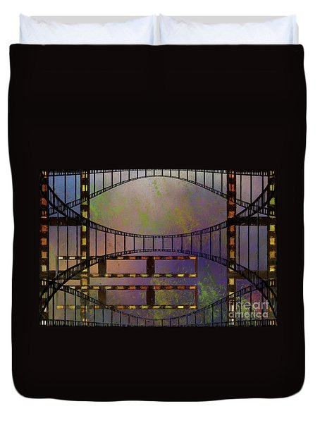 Duvet Cover featuring the mixed media Film Is Dead by Jim  Hatch
