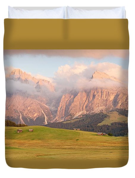 Final Light Hits The Langkofel And Sassoungo Duvet Cover