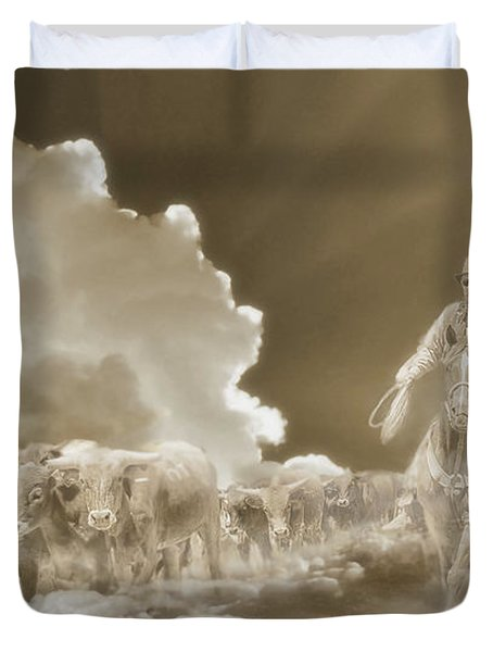 Final Round Up Sepia Duvet Cover