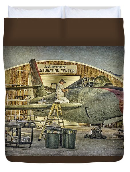 F-84f Thunderstreak Final Touches  Duvet Cover