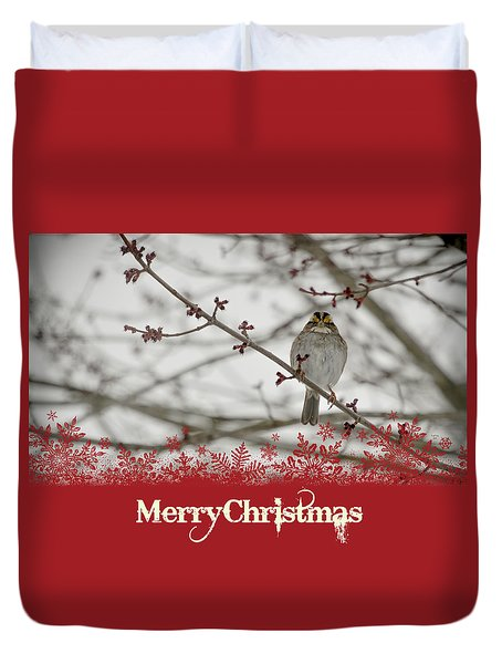 Duvet Cover featuring the mixed media Finch Christmas by Trish Tritz
