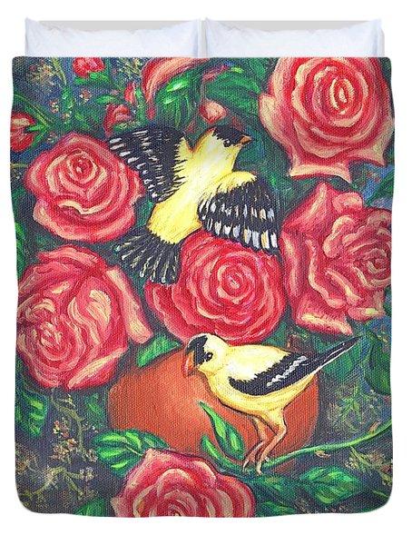 Finch Fancy Duvet Cover by Linda Mears