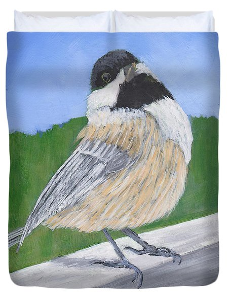 Duvet Cover featuring the painting Finch by Patricia Cleasby