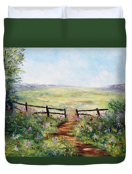 Finding Pasture Duvet Cover by Meaghan Troup