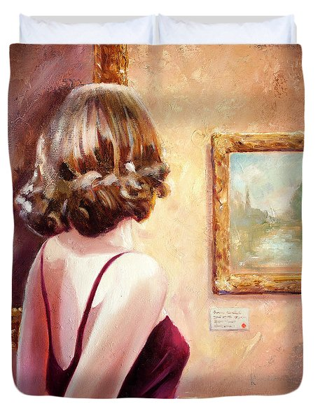 Fine Art Gallery Opening Night Duvet Cover
