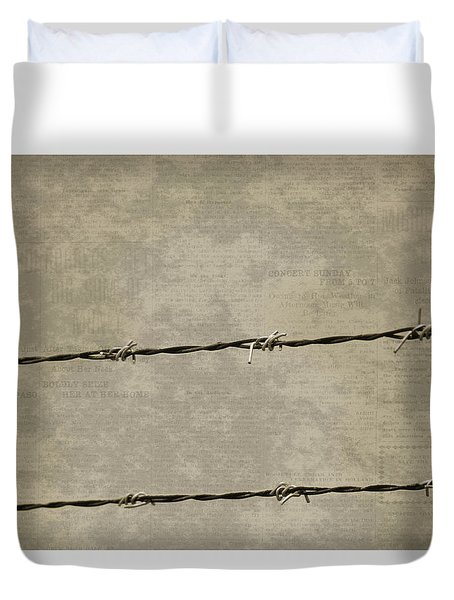 Fine Art Photograph Barbed Wire Over Vintage News Print Breaking Out  Duvet Cover