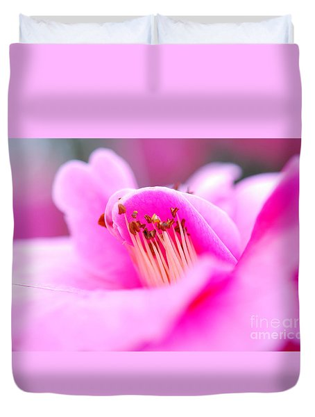 Fine Art- Pink Camellia Duvet Cover